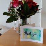 Fine blomster og kort fra en af grupperne